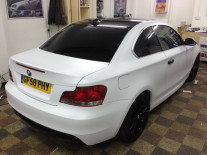 BMW-Matte-White-Wrap-Black-Alloys-Window-Tints