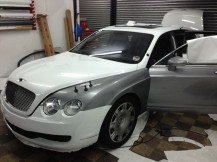 Bentley-White-Wrapping-in-Progress