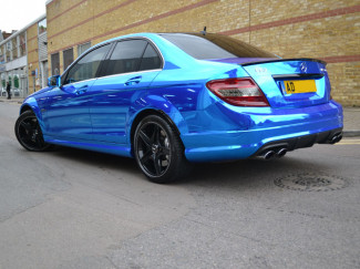 Mercedes-C63-Wrapped-Chrome-Blue