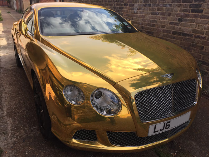 Bentley GT Chrome Gold wrap at Wrapping Cars - Bentley car ...