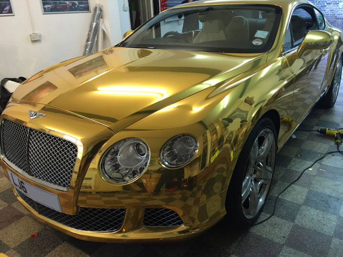 Bentley Gt Chrome Gold Wrap At Wrapping Cars Bentley Car