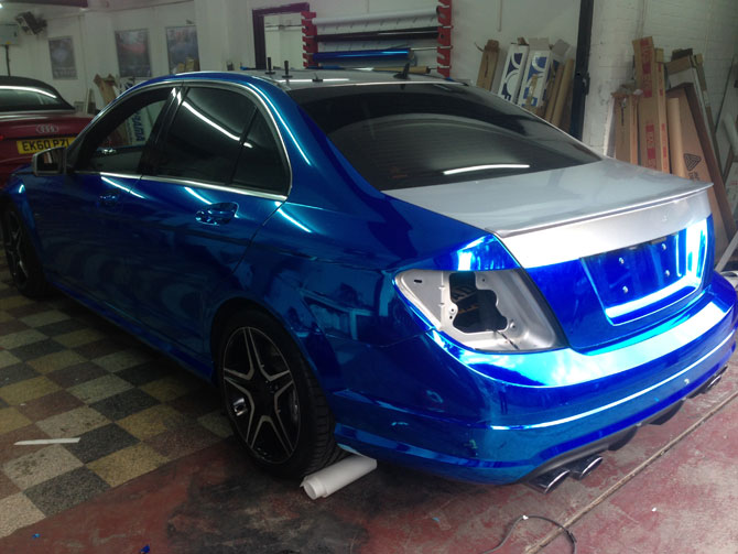 Mercedes C63 Amg Chrome Blue Wrap Wrappingcars London