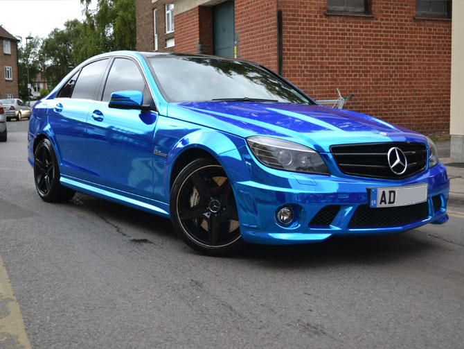 Chrome Blue Vinyl Wrap London