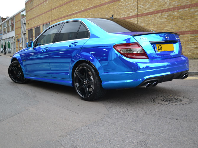 Chrome Blue Mercedes C63