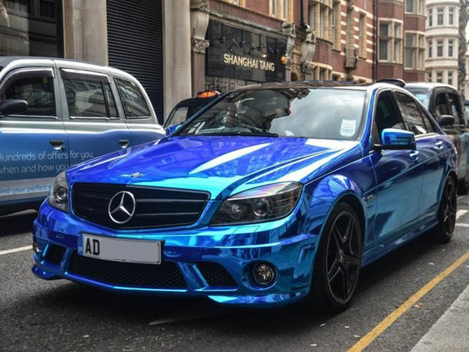 Mercedes C63 AMG Chrome Blue Wrap - WrappingCars London