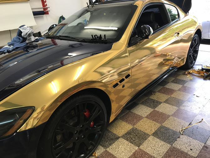 Maserati GT vinyl wrapped Chrome Gold at Wrapping Cars London