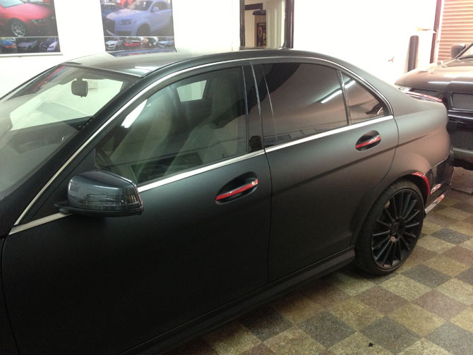 Red Window Tint >> Mercedes AMG C-Class Matte Black Wrap by Wrapping Cars