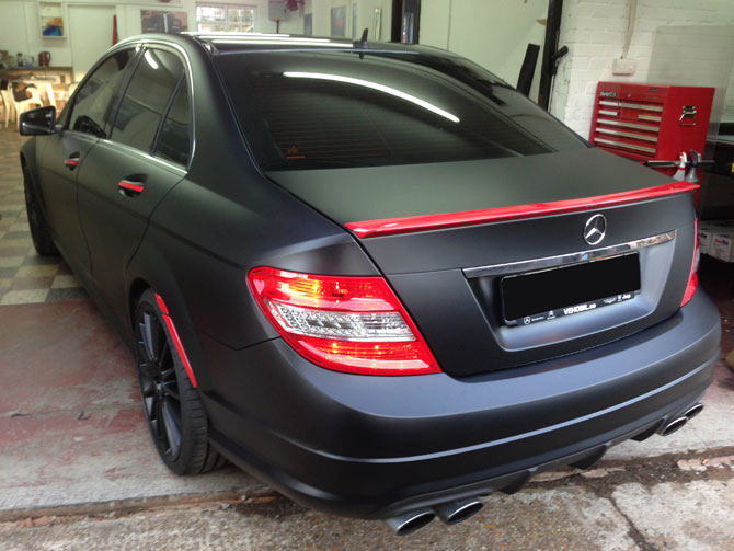 London Window Tinting >> Mercedes AMG C-Class Matte Black Wrap by Wrapping Cars