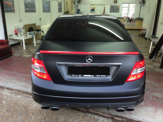 Black Car: Mercedes AMG C-Class Matte Black Wrap By Wrapping Cars