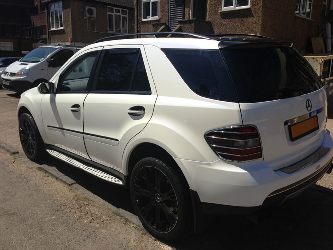 Mercedes Ml Pearl White Wrap By Wrapping Cars London