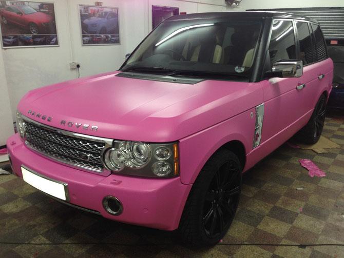 Range Rover Wrapped Matte Pink Colour Change Black