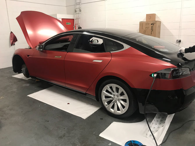 Tesla Model S P85d Vinyl Wrapped Gloss Grey At Wrapping Cars