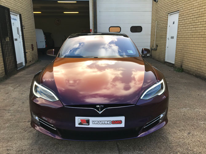Tesla Model S Vinyl Wrapped Gloss Grey Matte Black 3m