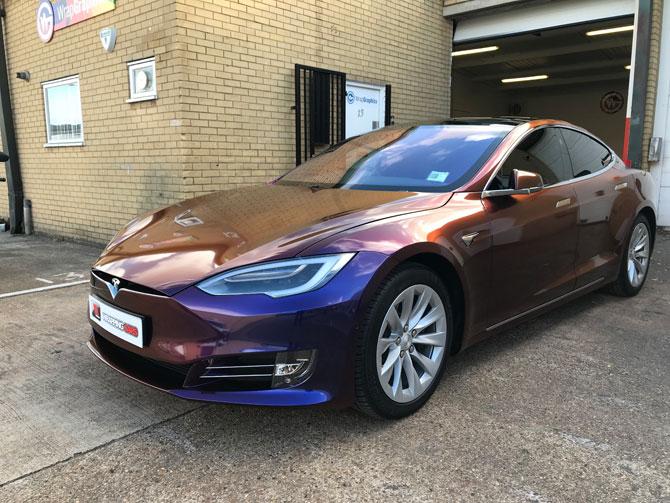 Tesla Model S Vinyl Wrapped Gloss Grey Matte Black 3m