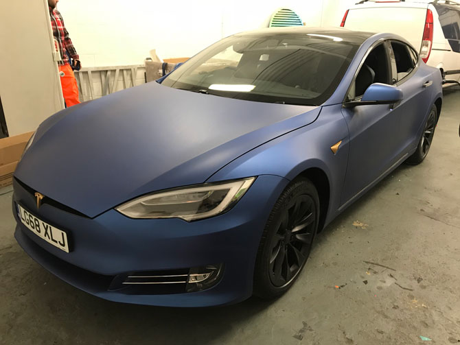 tesla blue wrapping