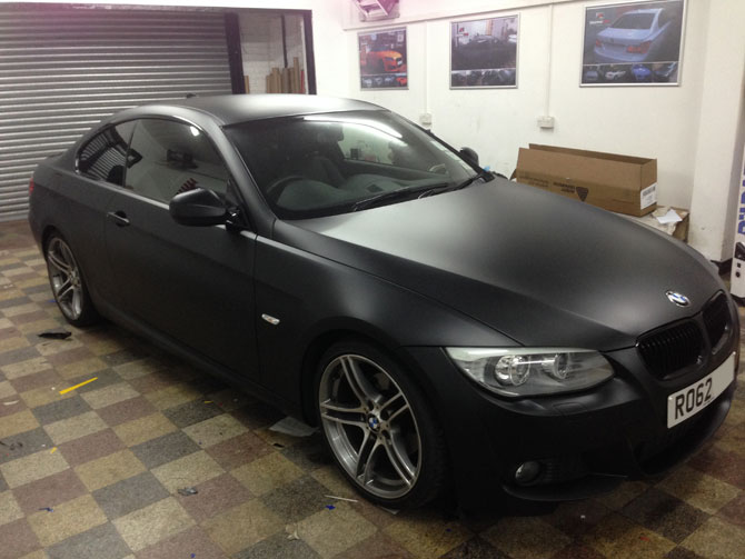 Bmw 320 D Wrapped Matte Satin Black By Wrapping Cars London