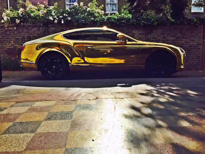 Bentley Continental GT Full Vinyl Wrapped Chrome Gold By Wrapping Cars  London