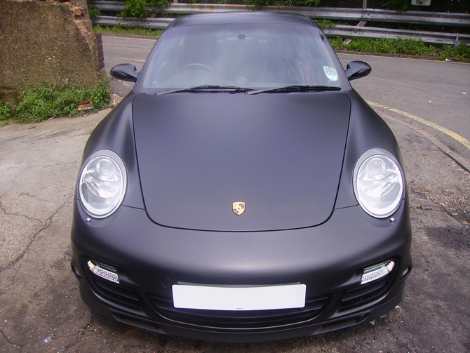 Porsche 911 Wrapped Matte Black by Wrapping Cars London