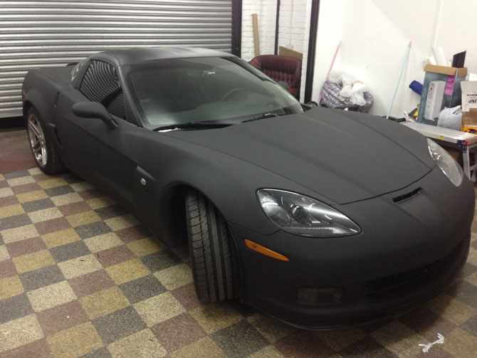 Corvette Vinyl Wrapped Super Matte Black By Wrapping Cars