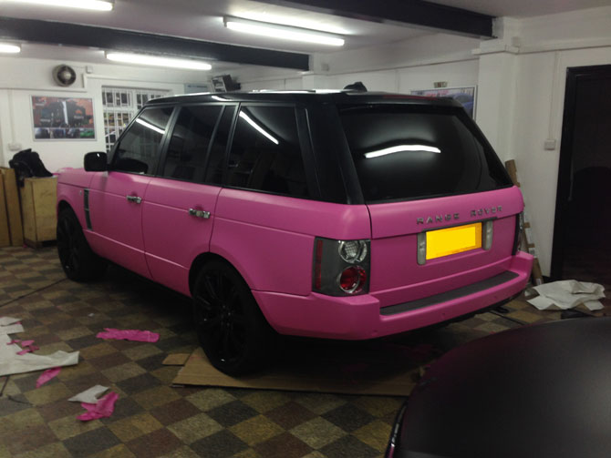 Range Rover Wrapped Matte Pink Colour Change From Black