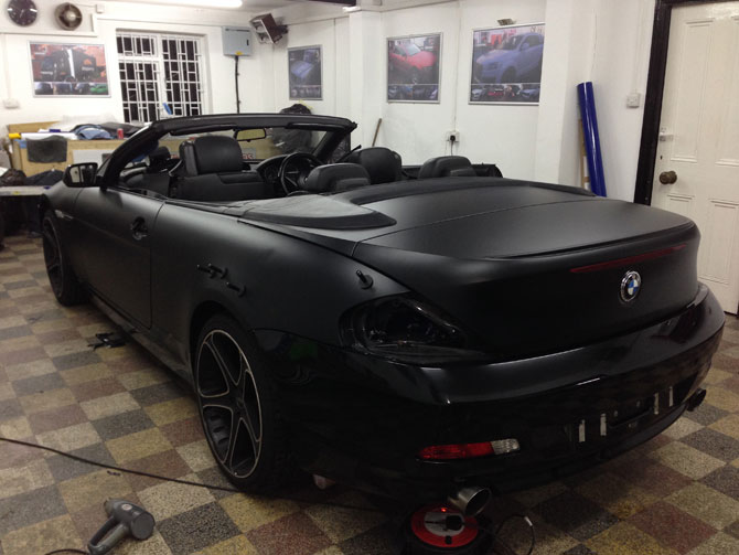 Bmw 645i Satin Black Wrap From Gloss Black By Wrapping Cars London