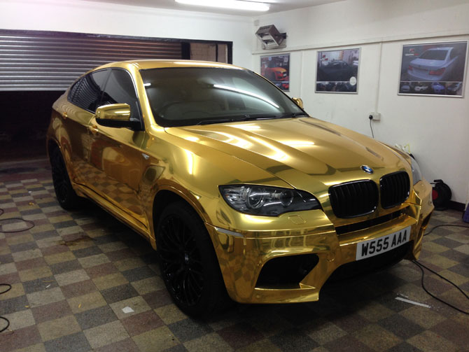 BMW X6 Vinyl Wrapped Gold Chrome