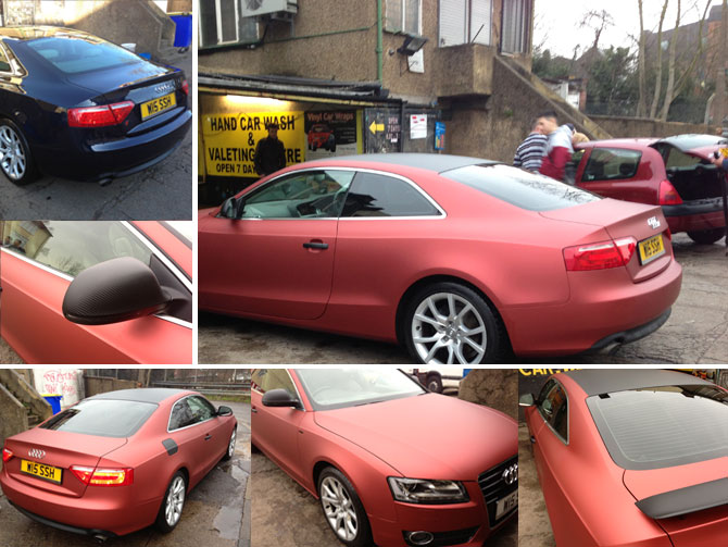 Audi S5 Matte Metallic Red Vinyl Wrapping