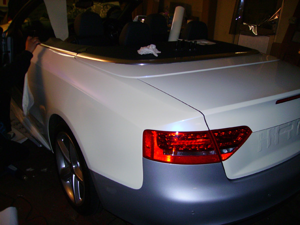 Audi A5 Convertible Pearl White Wrap by Wrapping Cars London