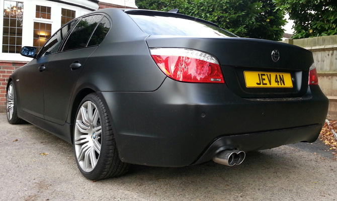 Bmw 525 Matte Black Wrap From Grey Colour Change By
