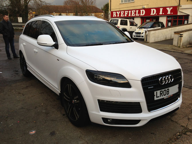 matte white audi wrapping